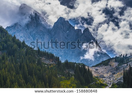 Dramatic Sky over Beautiful Cascade Canyon - Grand Tetons - stock photo