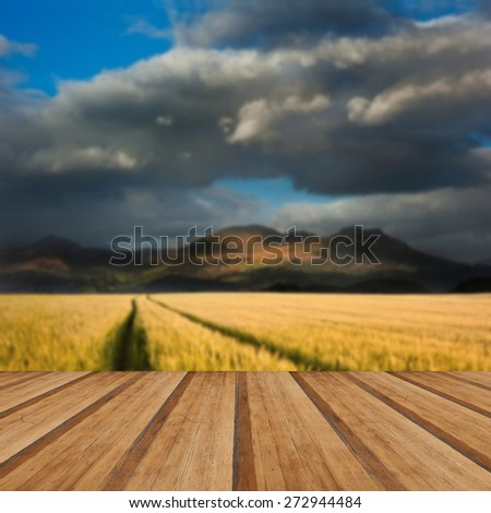 Dramatic sky over landscape of mountain range with corn field in foreground with wooden planks floor - stock photo