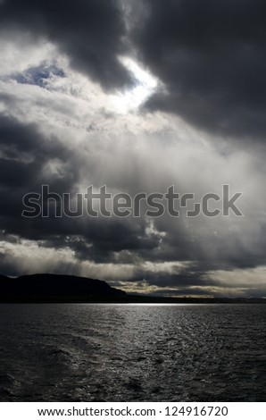 Dramatic sky over Last Hope Sound (Seno Ultima Esperanza) near Puerto Natales in southern Chile