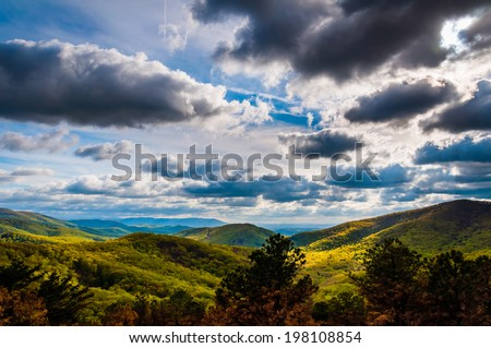 Dramatic sky over the Blue Ridge Mountains in Shenandoah National Park, Virginia. - stock photo