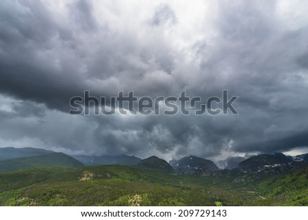 Dramatic sky over The Continental Divide in Rockies Colorado
