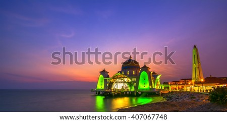 Dramatic sky & reflections at Straits Mosque, Malacca. Nature composition.Motion Blur and Soft Focus due to Long Exposure. Vibrant Color's