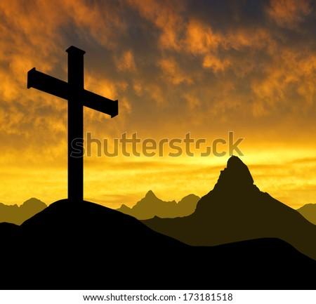 Dramatic sky  with  mountain cross - stock photo