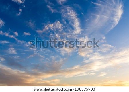 Dramatic sky with white clouds.