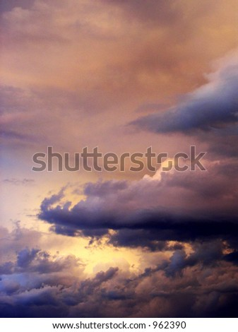 dramatic skyscape of clouds - stock photo