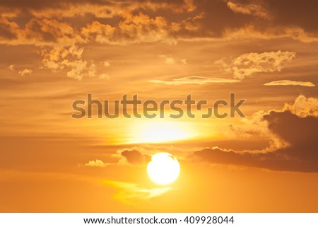 Dramatic skyscape view of sunset on twilight cloudscape - stock photo