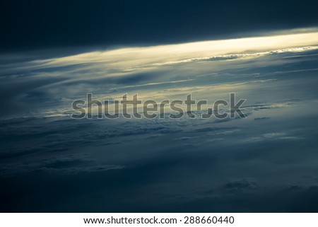 Dramatic storm clouds by overlooking - stock photo