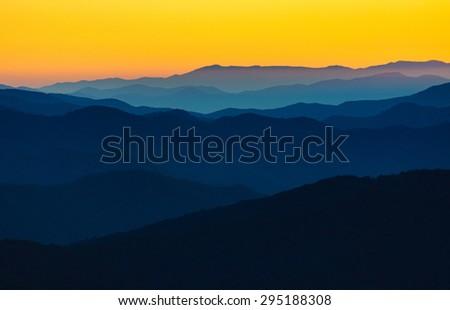 Dramatic Sunrise at Great Smokey Mountains - stock photo