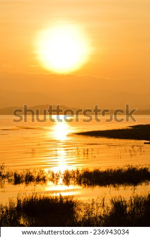 Dramatic sunrise  in Srinakarin National park, Thailand  - stock photo