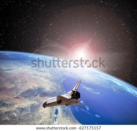 "Dramatic sunrise, view from space. ""The elements of this image furnished by NASA"""