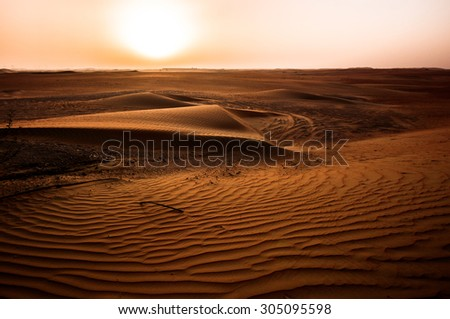 Dramatic sunrise view of the Liwa Desert in the Western Region of Abu Dhabi