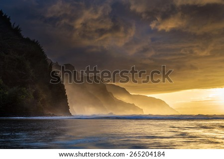 Dramatic Sunset from Kee Beach on the island of Kauai - stock photo