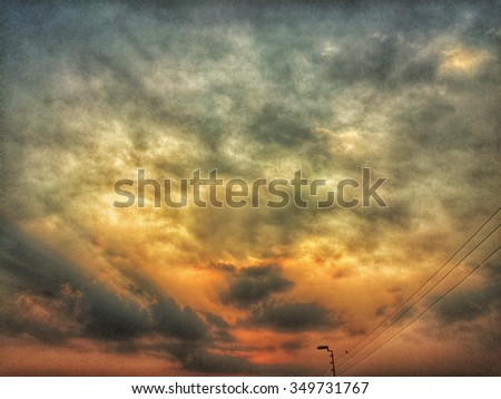 Dramatic sunset in Lahore Pakistan