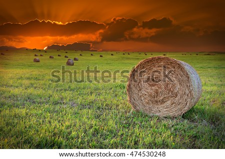 Dramatic sunset in magical countryside with hilly field and rolls of haystack. Focus is on the nearest roll