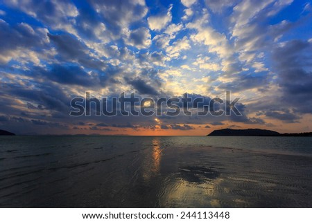 Dramatic Sunset in Samui, Thailand - stock photo