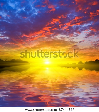 dramatic sunset on a lake