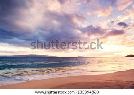 Dramatic Sunset on the Beach In Hawaii - stock photo