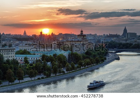 Dramatic sunset over historical center of Moscow