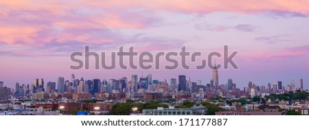 Dramatic sunset over New York City
