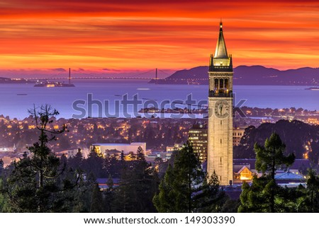 Dramatic Sunset over San Francisco Bay and the Campanile - stock photo