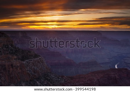 Dramatic sunset over the Hopi Point Overlook along the Grand Canyon's South Rim - stock photo