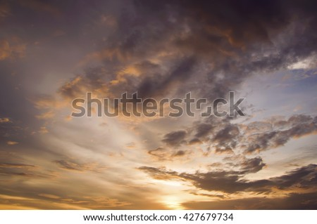 Dramatic sunset sky
