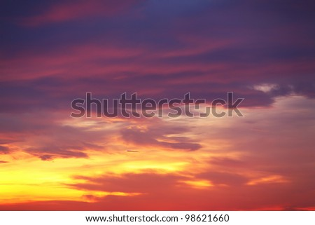 dramatic sunset sky with clouds - stock photo