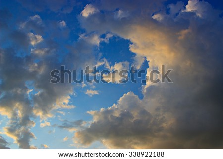 dramatic sunset sky with clouds, can be used as a background.