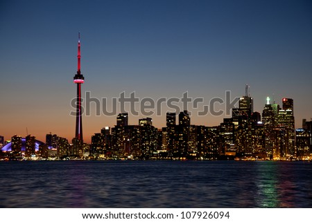 Dramatic sunset, Toronto, Canada - stock photo
