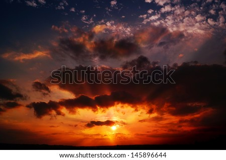 Dramatic Sunset with sun rays, Quebec city, Canada - stock photo