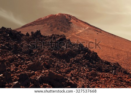Dramatic surface of red planet Mars - stock photo
