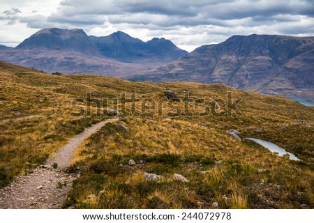Dramatic view of beautiful Wester Ross mountains and Loch Torridon, Scotland, UK - stock photo