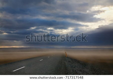 Dramatic view of cloudy evening sandstorm in Iceland