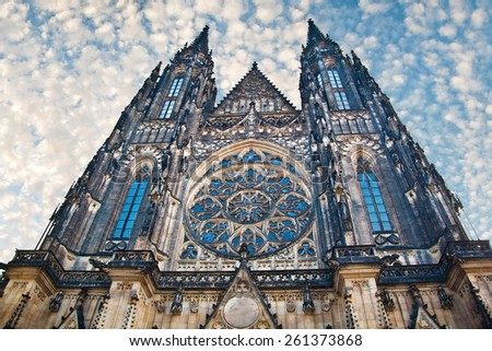Dramatic view of famous historic St. Vitus Cathedral in prague czech republic - stock photo