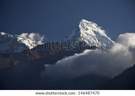 Dramatic view of the sunrise in Himalayan mountains, Annapurna Region, Nepal  - stock photo