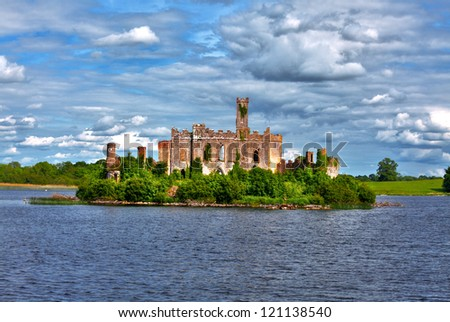 Dramatic view to Lough Key castle river Shannon - stock photo
