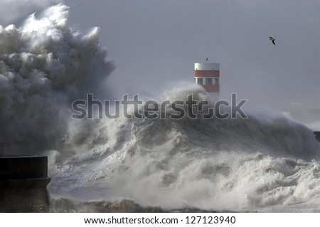Dramatic wave during storm weather conditions. - stock photo