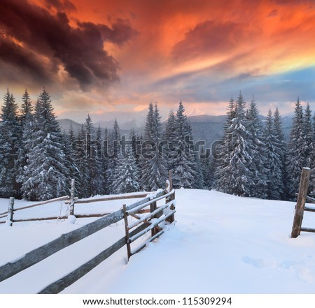 Dramatic winter landscape in the mountains. Colorful sunrise - stock photo