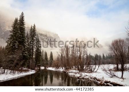 Dramatic Winter Landscape in Yosemite National Park, California. - stock photo