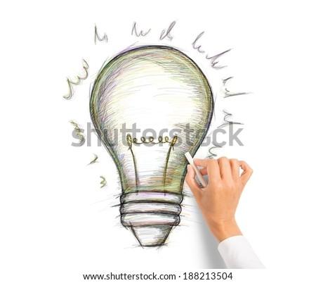 Draw a big idea. concept of creativity - stock photo
