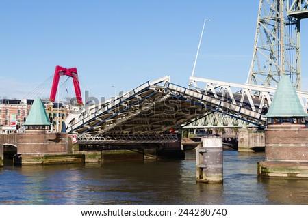 Draw bridge in Rotterdam, Netherlands - stock photo