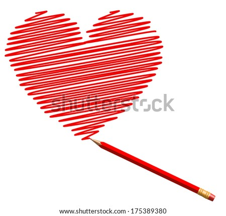 draw sketch heart by red pencil to saint valentines day  - stock photo