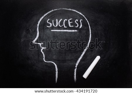 Draw the shape of a human head on the blackboard ( success in the brain ) - stock photo