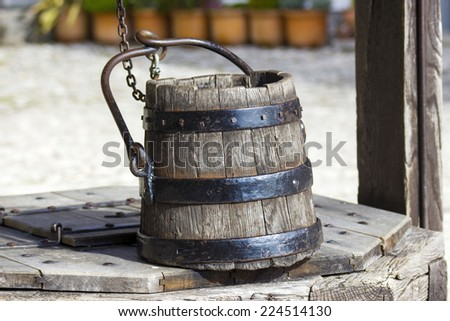 draw well with wooden bucket, Castle of Bled, Slovenia - stock photo