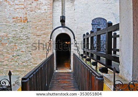 drawbridge in Gradara castle, Italy