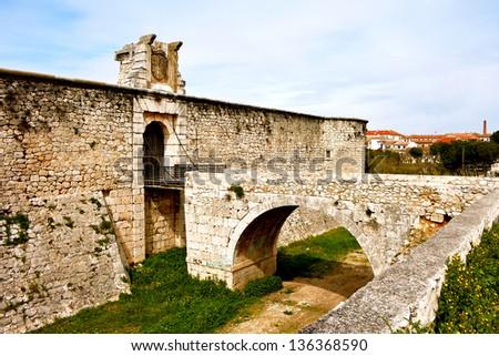 Drawbridge of castle of the Counts XV century in Chinchon near of Madrid - stock photo