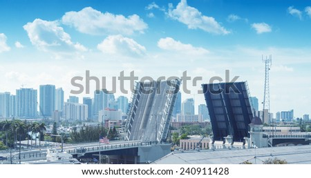Drawbridge of Miami, Florida. - stock photo