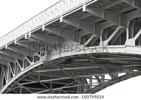 drawbridge structural supports of steel beams - stock photo