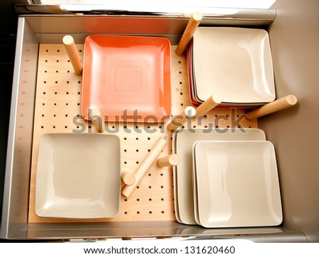 Drawer for dishes - stock photo