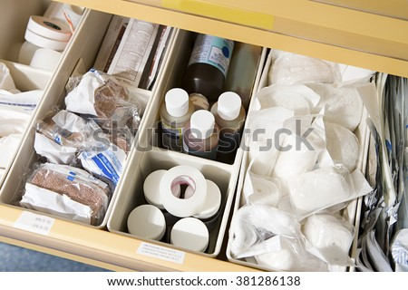 Drawer of medical supplies - stock photo
